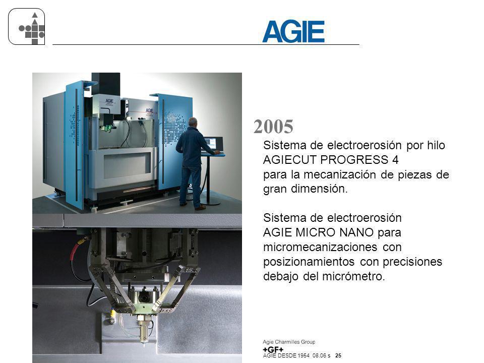 AGIE DESDE 1954 08.06 s 25 2005 Sistema de electroerosión por hilo AGIECUT PROGRESS 4 para la mecanización de piezas de gran dimensión. Sistema de ele