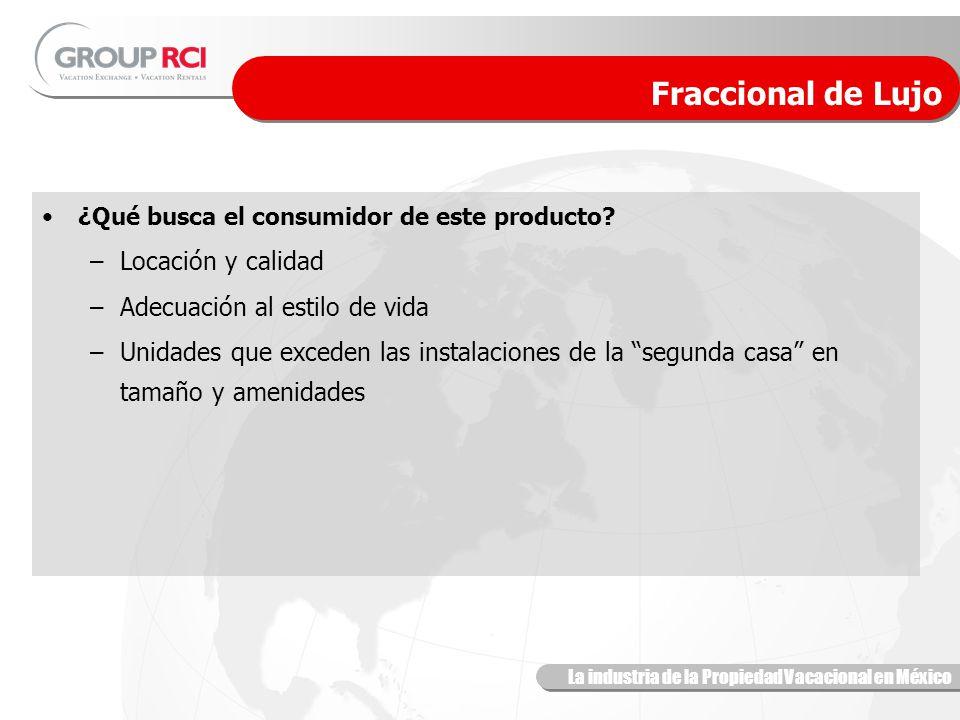 La industria de la Propiedad Vacacional en México Fraccional de Lujo ¿Qué busca el consumidor de este producto.