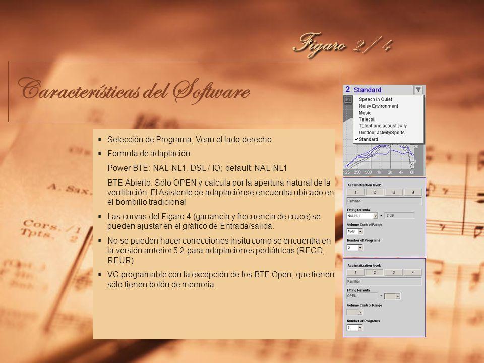 Características del Software Se muestra en el ejemplo el Figaro 4 Interfase preliminar del usuario! Supresor activo de ruido con 3 pasos Modo de Micró