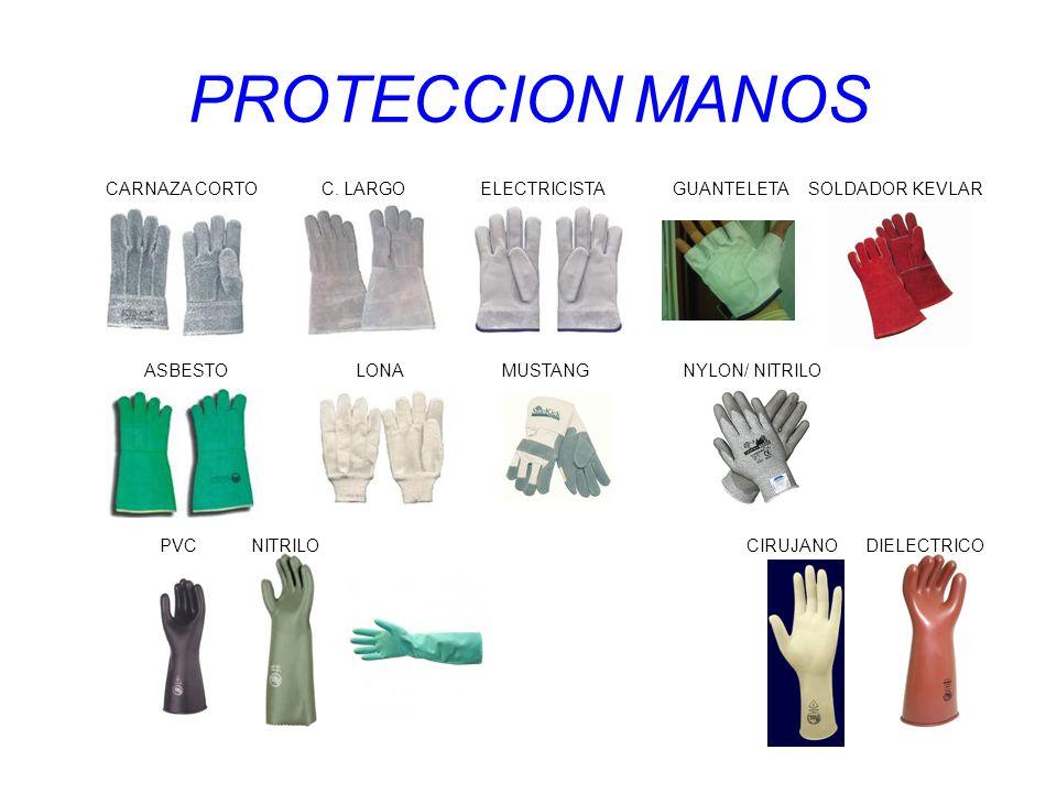 PROTECCION MANOS CARNAZA CORTO C. LARGO ELECTRICISTA GUANTELETA SOLDADOR KEVLAR ASBESTO LONA MUSTANG NYLON/ NITRILO PVC NITRILO CIRUJANO DIELECTRICO
