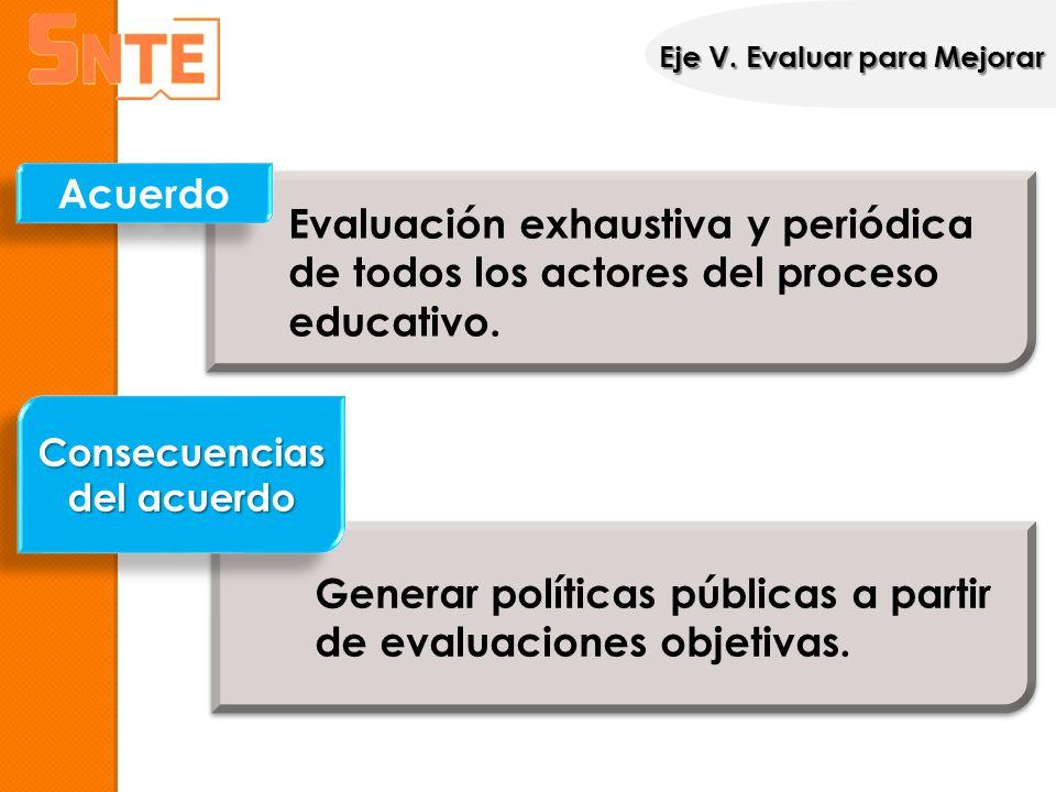 Evaluación exhaustiva y periódica de todos los actores del proceso educativo. Acuerdo Generar políticas públicas a partir de evaluaciones objetivas. C