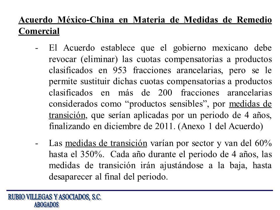 Acuerdo México-China en Materia de Medidas de Remedio Comercial -El Acuerdo establece que el gobierno mexicano debe revocar (eliminar) las cuotas comp