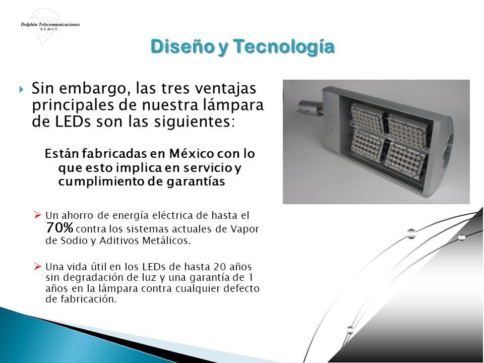 Sin embargo, las tres ventajas principales de nuestra lámpara de LEDs son las siguientes: Están fabricadas en México con lo que esto implica en servic