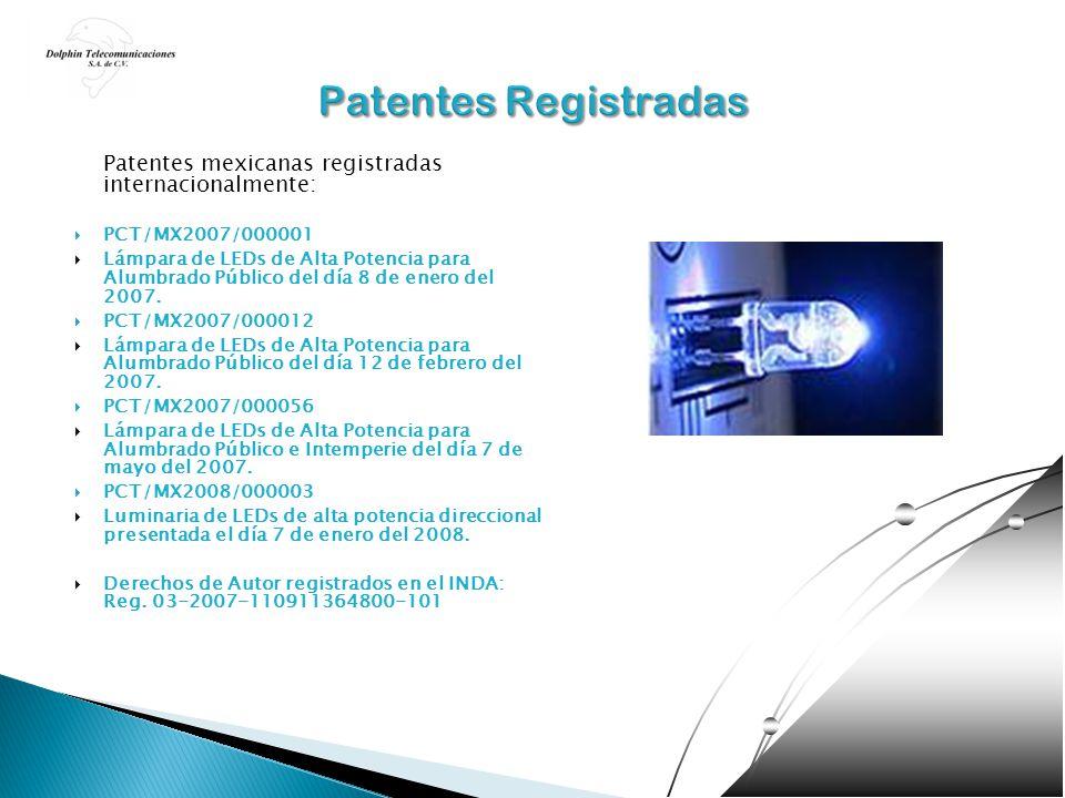 Patentes mexicanas registradas internacionalmente: PCT/MX2007/000001 Lámpara de LEDs de Alta Potencia para Alumbrado Público del día 8 de enero del 20