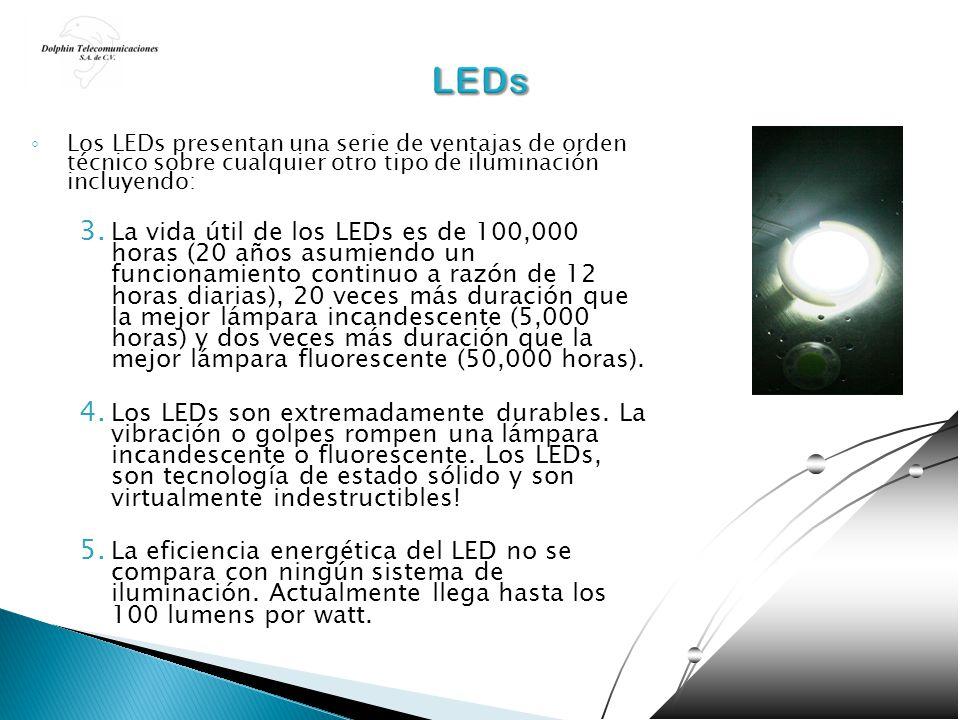 Los LEDs presentan una serie de ventajas de orden técnico sobre cualquier otro tipo de iluminación incluyendo: 3. La vida útil de los LEDs es de 100,0