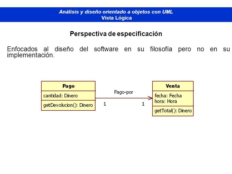 Diplomado de Bases de Datos - M odelado Orientado a Objetos Análisis y diseño orientado a objetos con UML Vista Lógica Perspectiva de especificación E