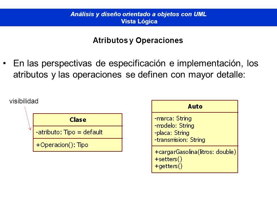 En las perspectivas de especificación e implementación, los atributos y las operaciones se definen con mayor detalle: Diplomado de Bases de Datos - M