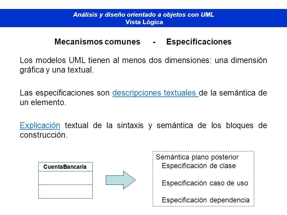 Diplomado de Bases de Datos - M odelado Orientado a Objetos Análisis y diseño orientado a objetos con UML Vista Lógica Mecanismos comunes - Especifica