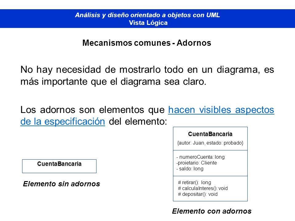 Diplomado de Bases de Datos - M odelado Orientado a Objetos Análisis y diseño orientado a objetos con UML Vista Lógica Mecanismos comunes - Adornos No