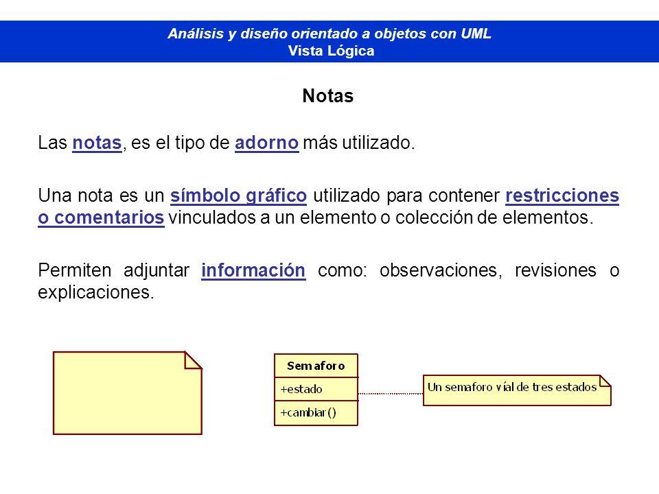 Diplomado de Bases de Datos - M odelado Orientado a Objetos Análisis y diseño orientado a objetos con UML Vista Lógica Notas Las notas, es el tipo de