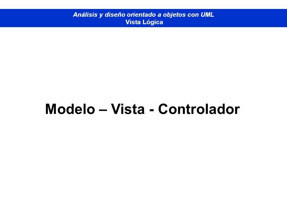 Diplomado de Bases de Datos - M odelado Orientado a Objetos Análisis y diseño orientado a objetos con UML Vista Lógica Modelo – Vista - Controlador