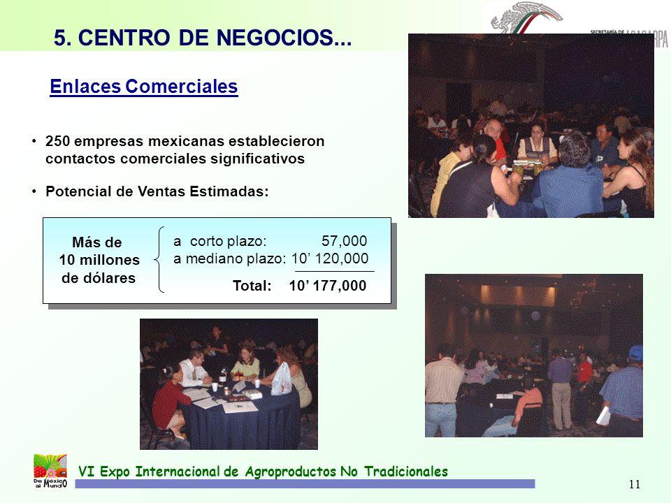 11 VI Expo Internacional de Agroproductos No Tradicionales 5. CENTRO DE NEGOCIOS... 250 empresas mexicanas establecieron contactos comerciales signifi