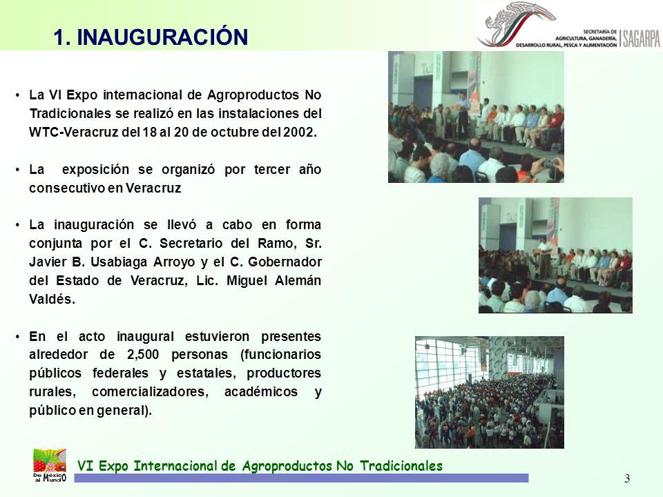 3 La VI Expo internacional de Agroproductos No Tradicionales se realizó en las instalaciones del WTC-Veracruz del 18 al 20 de octubre del 2002. La exp