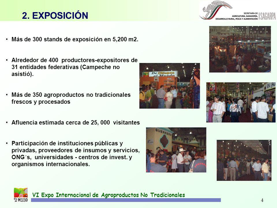 4 VI Expo Internacional de Agroproductos No Tradicionales Más de 300 stands de exposición en 5,200 m2. Alrededor de 400 productores-expositores de 31