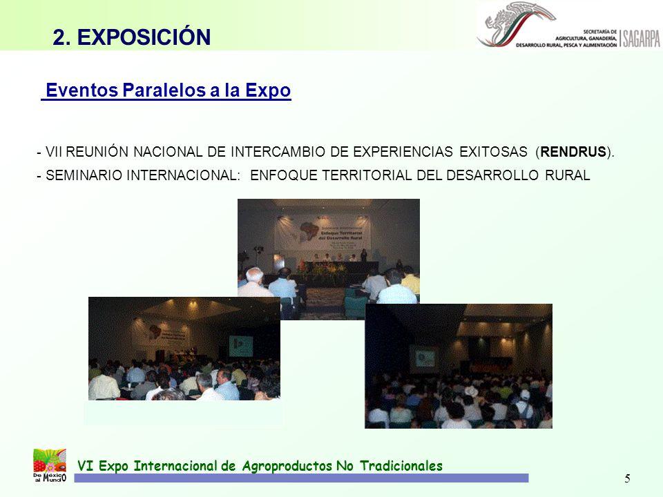 5 VI Expo Internacional de Agroproductos No Tradicionales Eventos Paralelos a la Expo - VII REUNIÓN NACIONAL DE INTERCAMBIO DE EXPERIENCIAS EXITOSAS (