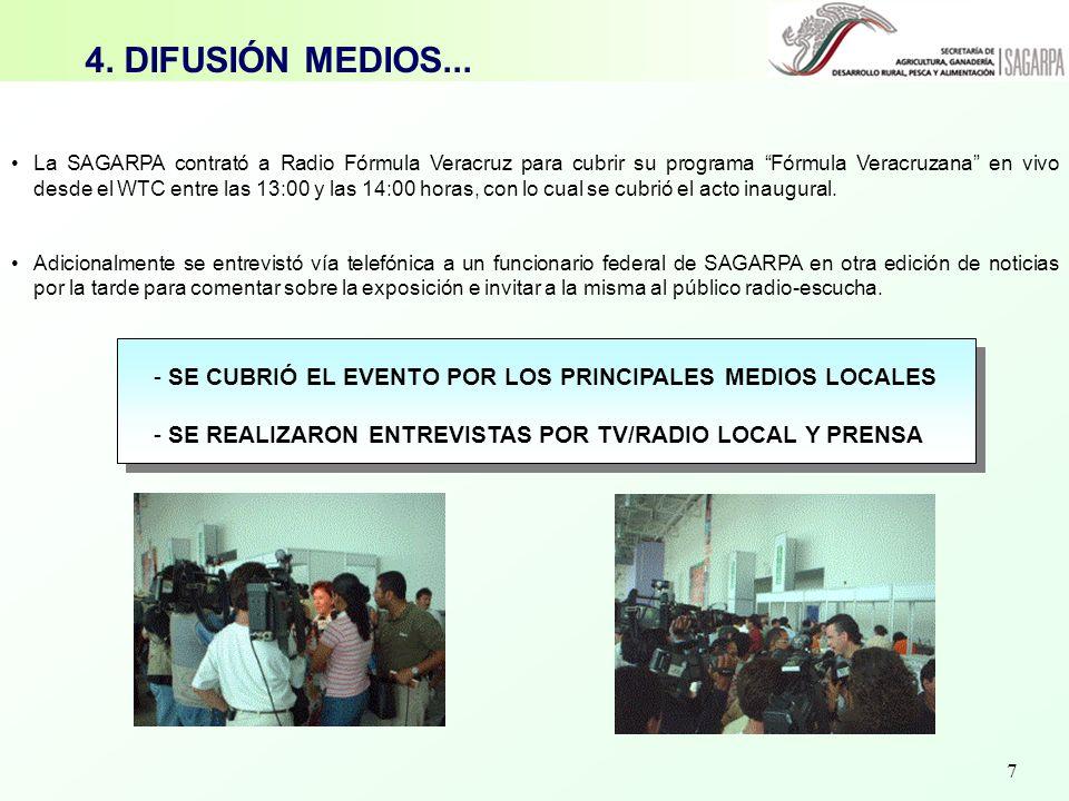 7 - SE CUBRIÓ EL EVENTO POR LOS PRINCIPALES MEDIOS LOCALES - SE REALIZARON ENTREVISTAS POR TV/RADIO LOCAL Y PRENSA 4. DIFUSIÓN MEDIOS... La SAGARPA co