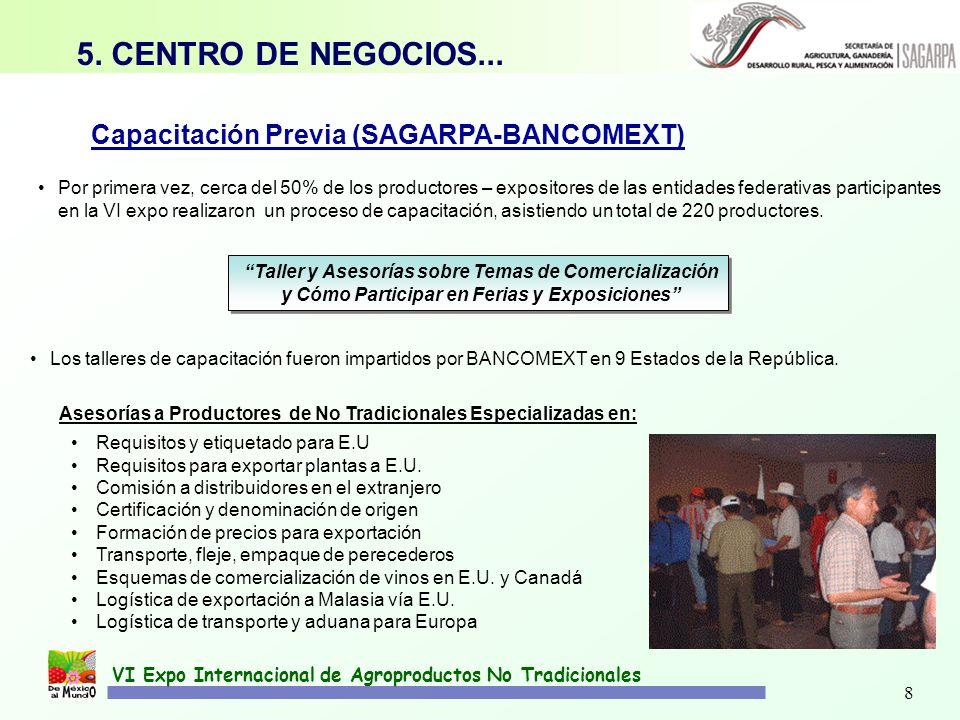 8 VI Expo Internacional de Agroproductos No Tradicionales Capacitación Previa (SAGARPA-BANCOMEXT) Por primera vez, cerca del 50% de los productores –