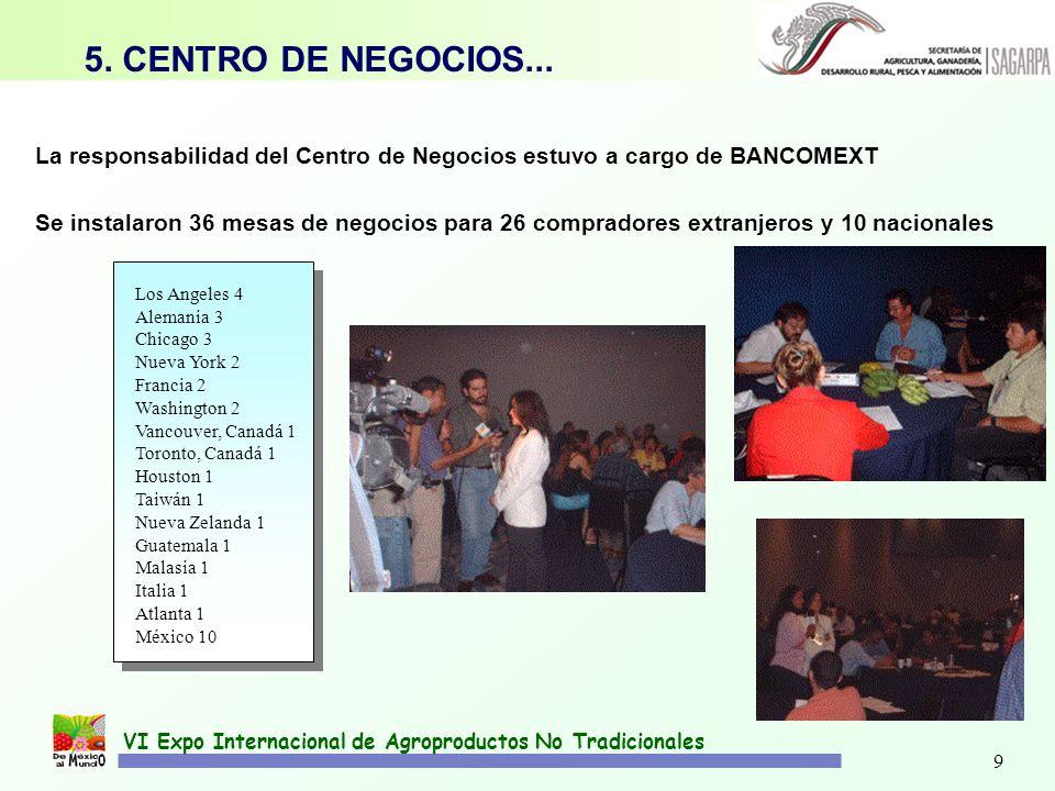 9 VI Expo Internacional de Agroproductos No Tradicionales La responsabilidad del Centro de Negocios estuvo a cargo de BANCOMEXT 5. CENTRO DE NEGOCIOS.