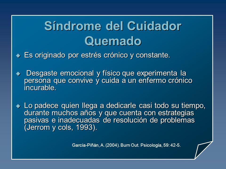 García-Piñán, A. (2004). Burn Out. Psicología, 59: 42-5. Síndrome del Cuidador Quemado Es originado por estrés crónico y constante. Es originado por e