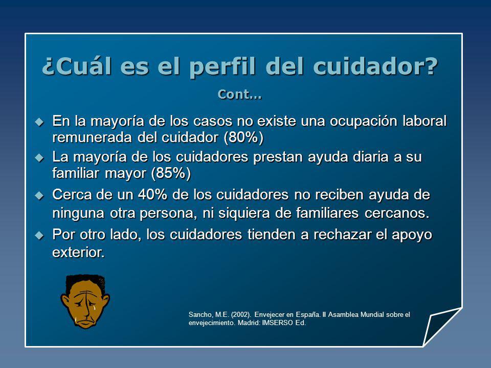 ¿Cuál es el perfil del cuidador? Cont… Sancho, M.E. (2002). Envejecer en España. II Asamblea Mundial sobre el envejecimiento. Madrid: IMSERSO Ed. En l