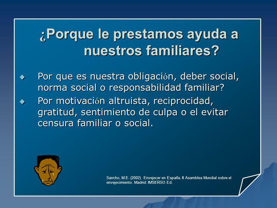 Sancho, M.E. (2002). Envejecer en España. II Asamblea Mundial sobre el envejecimiento. Madrid: IMSERSO Ed. Por que es nuestra obligaci ó n, deber soci