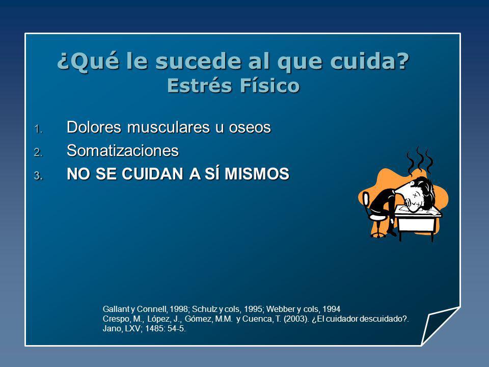 ¿Qué le sucede al que cuida? Estrés Físico Gallant y Connell, 1998; Schulz y cols, 1995; Webber y cols, 1994 Crespo, M., López, J., Gómez, M.M. y Cuen