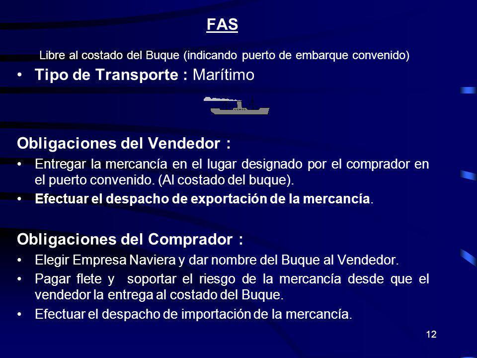 12 FAS Libre al costado del Buque (indicando puerto de embarque convenido) Tipo de Transporte : Marítimo Obligaciones del Vendedor : Entregar la merca
