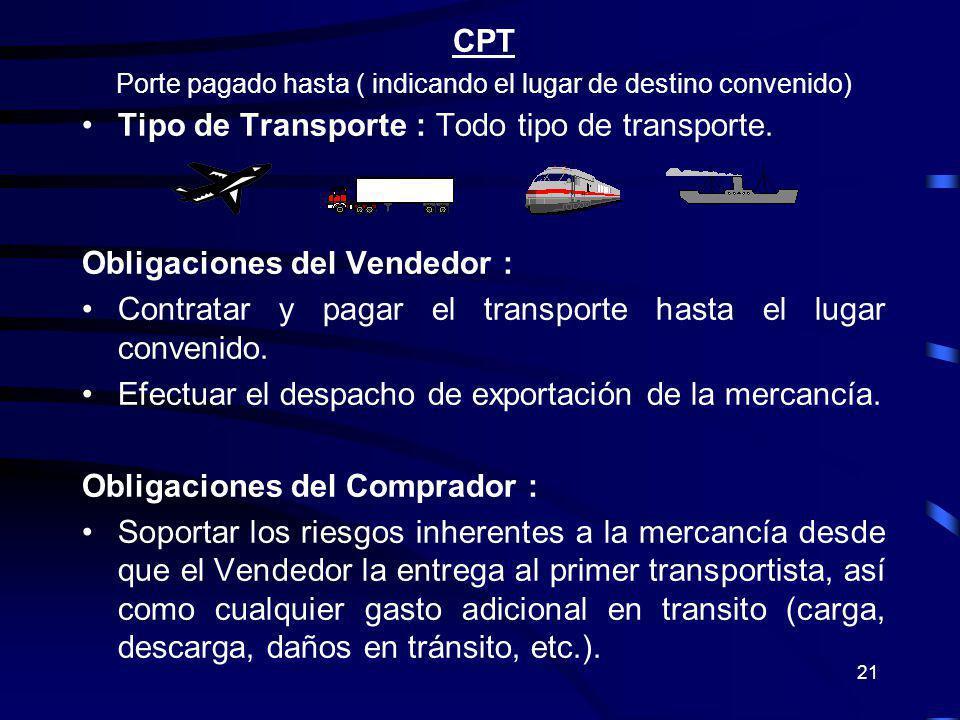 21 CPT Porte pagado hasta ( indicando el lugar de destino convenido) Tipo de Transporte : Todo tipo de transporte. Obligaciones del Vendedor : Contrat
