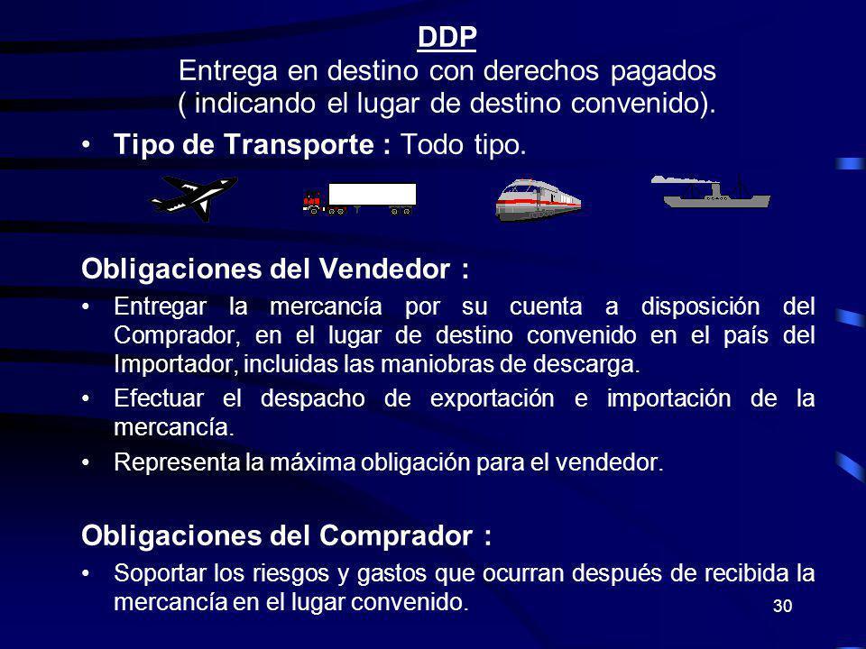 30 DDP Entrega en destino con derechos pagados ( indicando el lugar de destino convenido). Tipo de Transporte : Todo tipo. Obligaciones del Vendedor :