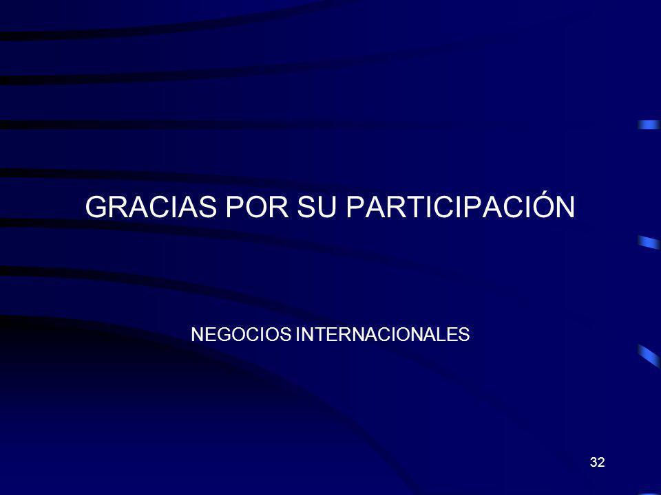 32 GRACIAS POR SU PARTICIPACIÓN NEGOCIOS INTERNACIONALES
