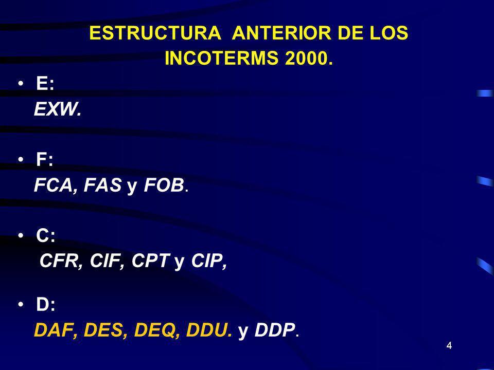 4 ESTRUCTURA ANTERIOR DE LOS INCOTERMS 2000. E: EXW. F: FCA, FAS y FOB. C: CFR, CIF, CPT y CIP, D: DAF, DES, DEQ, DDU. y DDP.