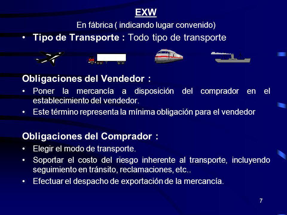 7 EXW En fábrica ( indicando lugar convenido) Tipo de Transporte : Todo tipo de transporte Obligaciones del Vendedor : Poner la mercancía a disposició