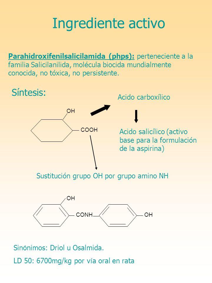Ingrediente activo Parahidroxifenilsalicilamida (phps): perteneciente a la familia Salicilanilida, molécula biocida mundialmente conocida, no tóxica,