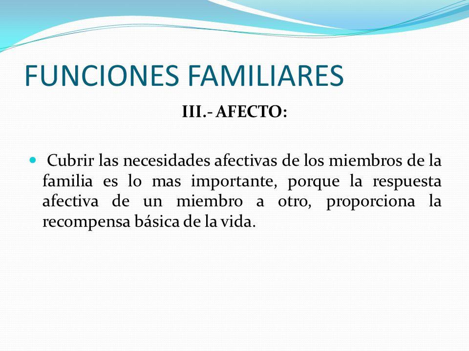 FUNCIONES FAMILIARES III.- AFECTO: Cubrir las necesidades afectivas de los miembros de la familia es lo mas importante, porque la respuesta afectiva de un miembro a otro, proporciona la recompensa básica de la vida.