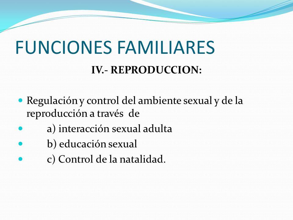 FUNCIONES FAMILIARES IV.- REPRODUCCION: Regulación y control del ambiente sexual y de la reproducción a través de a) interacción sexual adulta b) educación sexual c) Control de la natalidad.