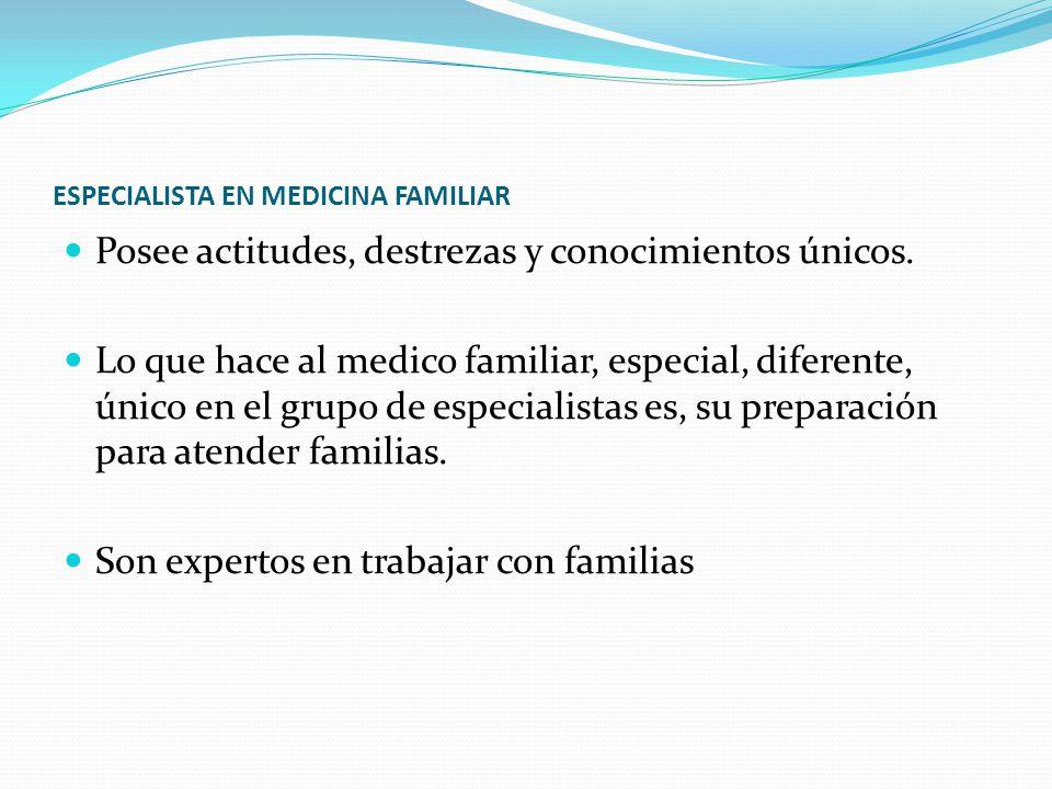 ESPECIALISTA EN MEDICINA FAMILIAR Posee actitudes, destrezas y conocimientos únicos.