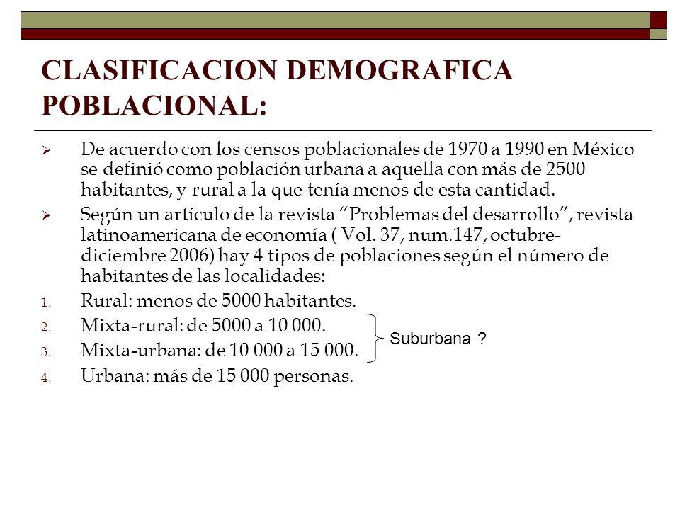 CLASIFICACION DEMOGRAFICA POBLACIONAL: De acuerdo con los censos poblacionales de 1970 a 1990 en México se definió como población urbana a aquella con
