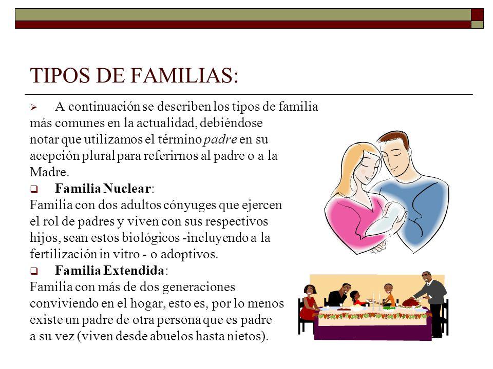 TIPOS DE FAMILIAS: A continuación se describen los tipos de familia más comunes en la actualidad, debiéndose notar que utilizamos el término padre en