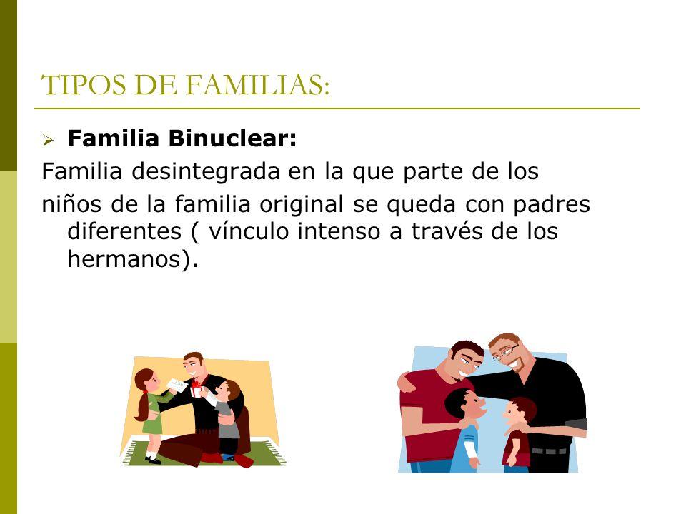 TIPOS DE FAMILIAS: Familia Binuclear: Familia desintegrada en la que parte de los niños de la familia original se queda con padres diferentes ( víncul