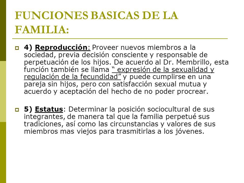 FUNCIONES BASICAS DE LA FAMILIA: 4) Reproducción: Proveer nuevos miembros a la sociedad, previa decisión consciente y responsable de perpetuación de l