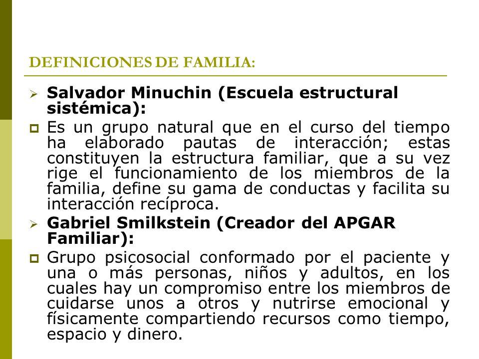 DEFINICIONES DE FAMILIA: Salvador Minuchin (Escuela estructural sistémica): Es un grupo natural que en el curso del tiempo ha elaborado pautas de inte