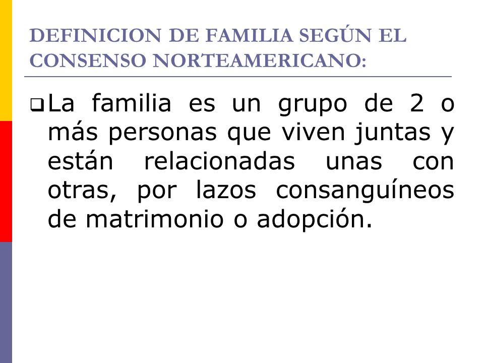 DEFINICION DE FAMILIA SEGÚN EL CONSENSO NORTEAMERICANO: La familia es un grupo de 2 o más personas que viven juntas y están relacionadas unas con otra