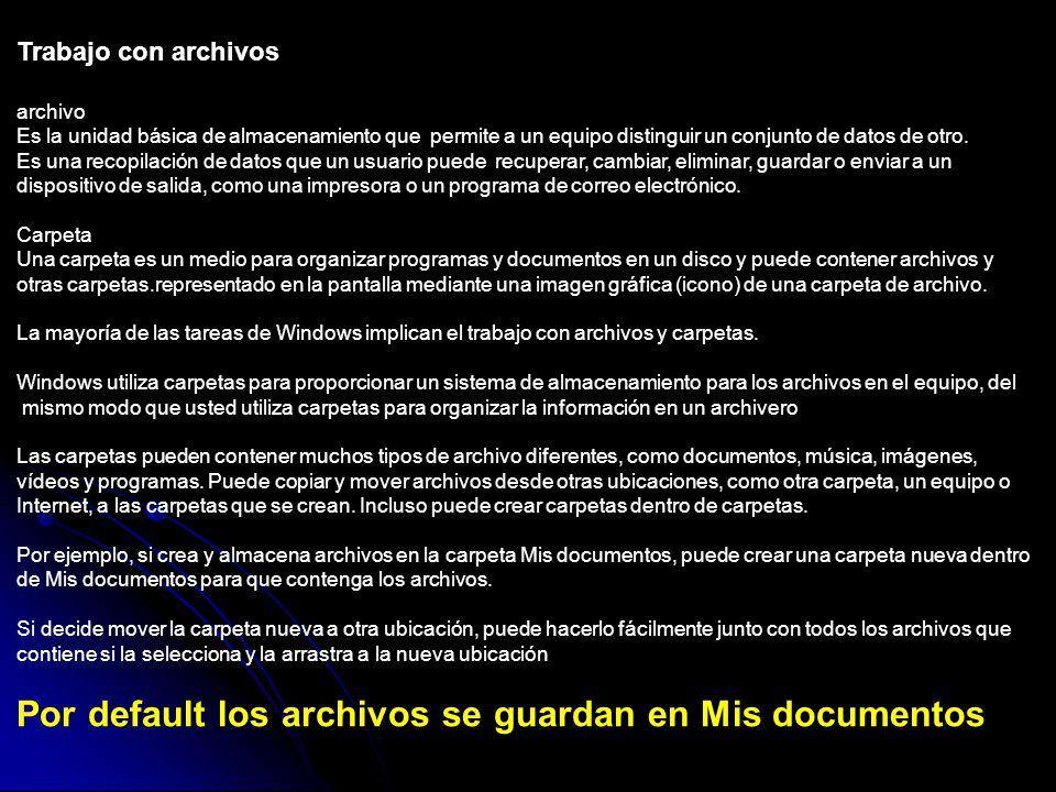 Trabajo con archivos archivo Es la unidad básica de almacenamiento que permite a un equipo distinguir un conjunto de datos de otro.
