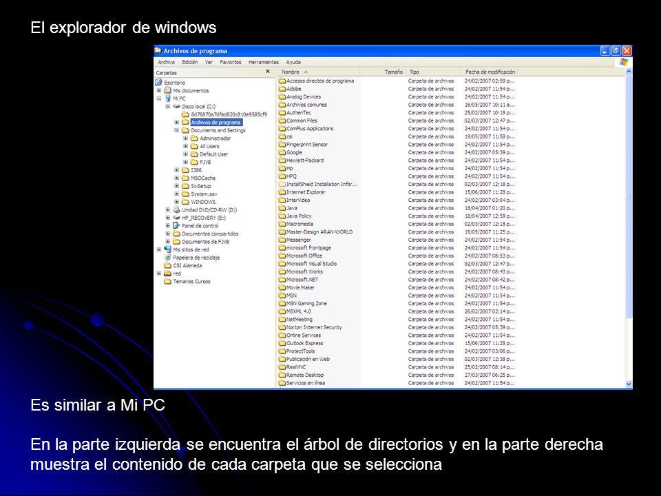Selección de archivos en Windows Seleccionar un solo archivo Haciendo 1 clic sobre el archivo Seleccionar varios archivos Archivos continuos Presione la tecla SHIFT y sin soltarla haga clic en el primer archivo a seleccionar de la lista, en seguida sin soltar la tecla SHIFT haga clic en el ultimo archivo a seleccionar de la lista Archivos discontinuos Presione la tecla CONTROL y sin soltarla haga clic en cada uno de los archivos que desee seleccionar