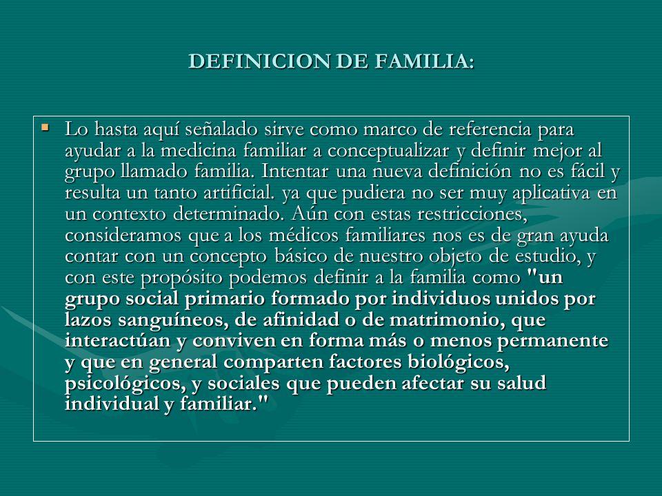 DEFINICION DE FAMILIA: Lo hasta aquí señalado sirve como marco de referencia para ayudar a la medicina familiar a conceptualizar y definir mejor al gr