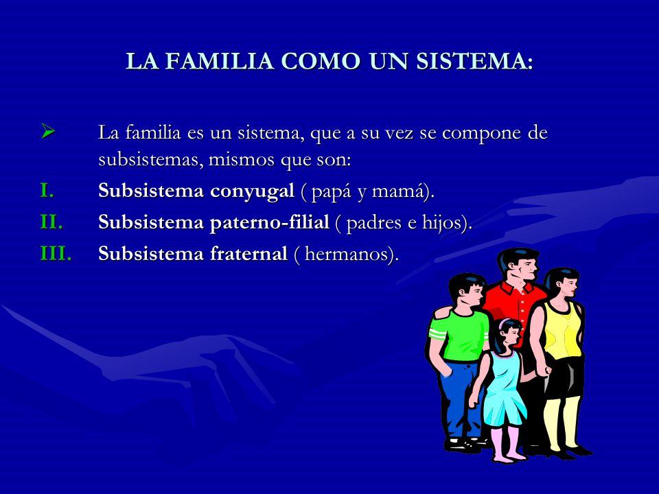 LA FAMILIA COMO UN SISTEMA: La familia es un sistema, que a su vez se compone de subsistemas, mismos que son: La familia es un sistema, que a su vez s