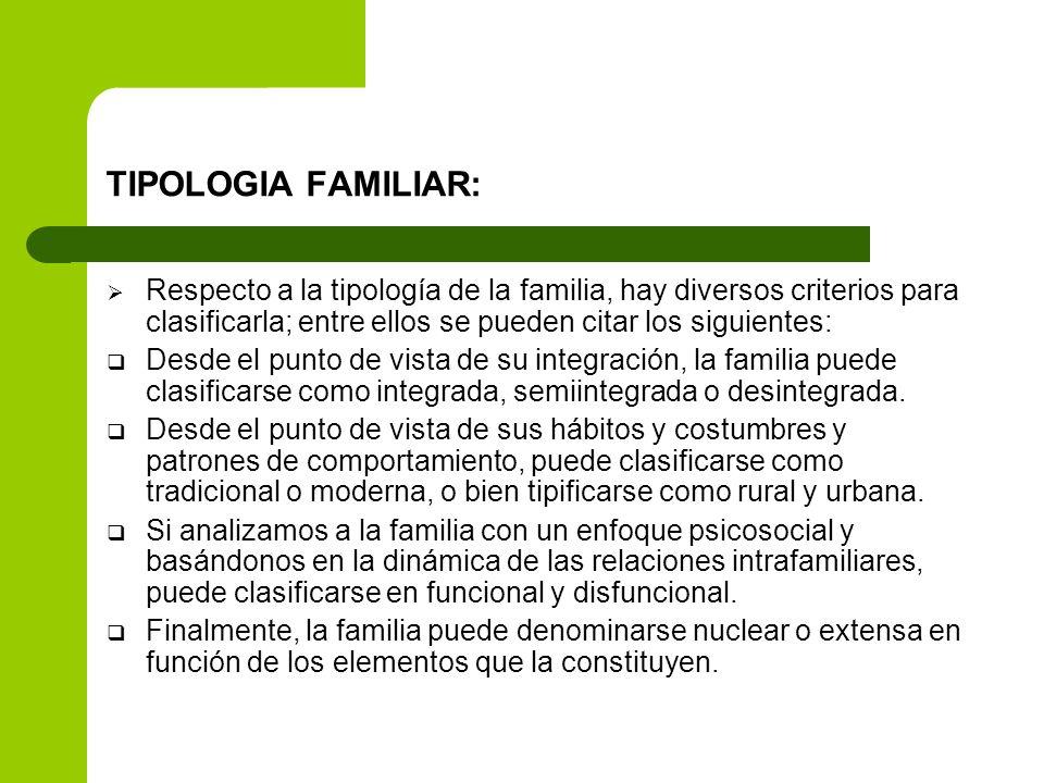 TIPOLOGIA FAMILIAR: Respecto a la tipología de la familia, hay diversos criterios para clasificarla; entre ellos se pueden citar los siguientes: Desde