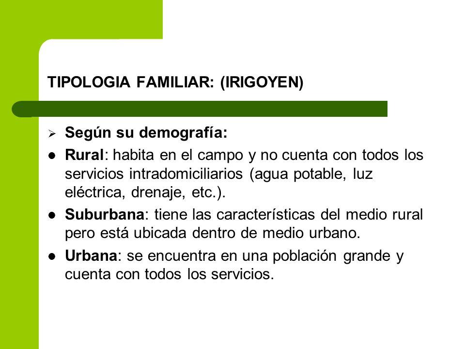TIPOLOGIA FAMILIAR: (IRIGOYEN) Según su demografía: Rural: habita en el campo y no cuenta con todos los servicios intradomiciliarios (agua potable, lu