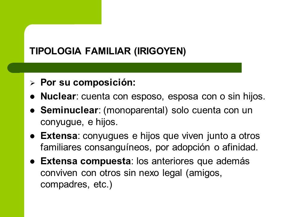 TIPOLOGIA FAMILIAR (IRIGOYEN) Por su composición: Nuclear: cuenta con esposo, esposa con o sin hijos. Seminuclear: (monoparental) solo cuenta con un c