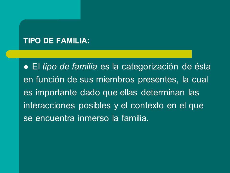 TIPO DE FAMILIA: El tipo de familia es la categorización de ésta en función de sus miembros presentes, la cual es importante dado que ellas determinan